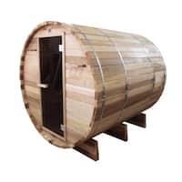 ALEKO 6 Person Barrel Outdoor Indoor Wood Wet Dry Personal Sauna