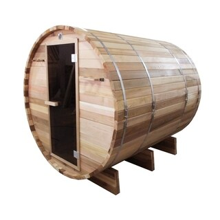 ALEKO 6 Person Barrel Outdoor Indoor Wood Wet Dry Personal Sauna