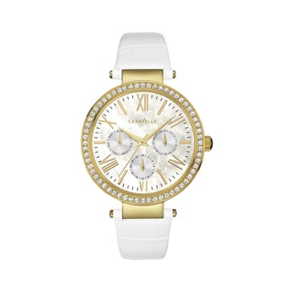 Caravelle NY Women's 44N104 Goldtone Crystal Bezel Multifunction White Leather Strap Watch