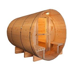 ALEKO 5 Person Barrel Outdoor Indoor Wet Dry Wood Personal Sauna