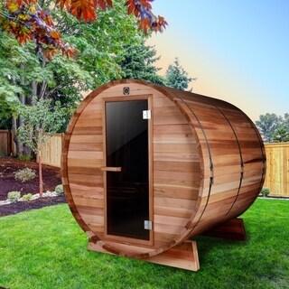 ALEKO 4 Prs Indoor Outdoor Wood Dry Wet Barrel Sauna with Heater