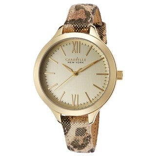 Caravelle Ny Women's 44L161 Goldtone Stainless Metallic Leopard Leather Strap Watch