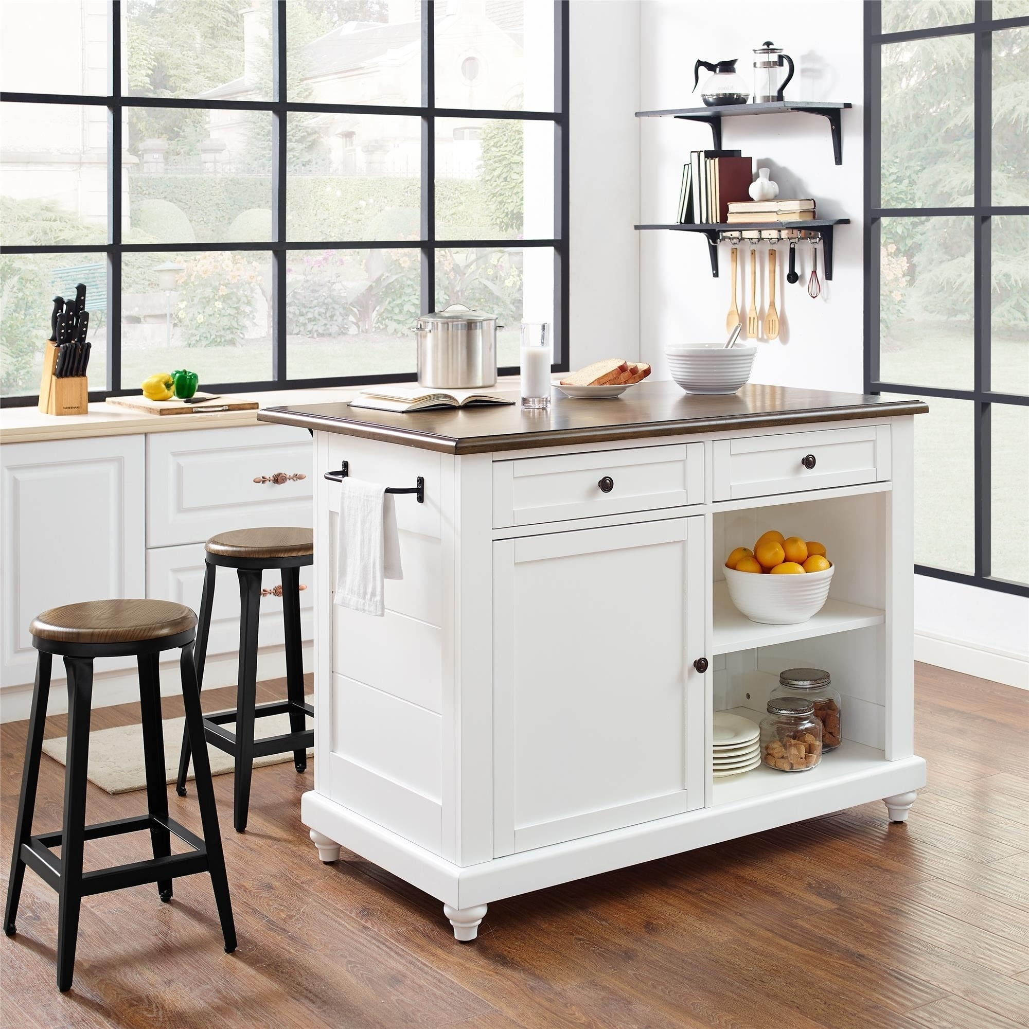 Shop Avenue Greene Betty Kitchen Island With 2 Stools Overstock