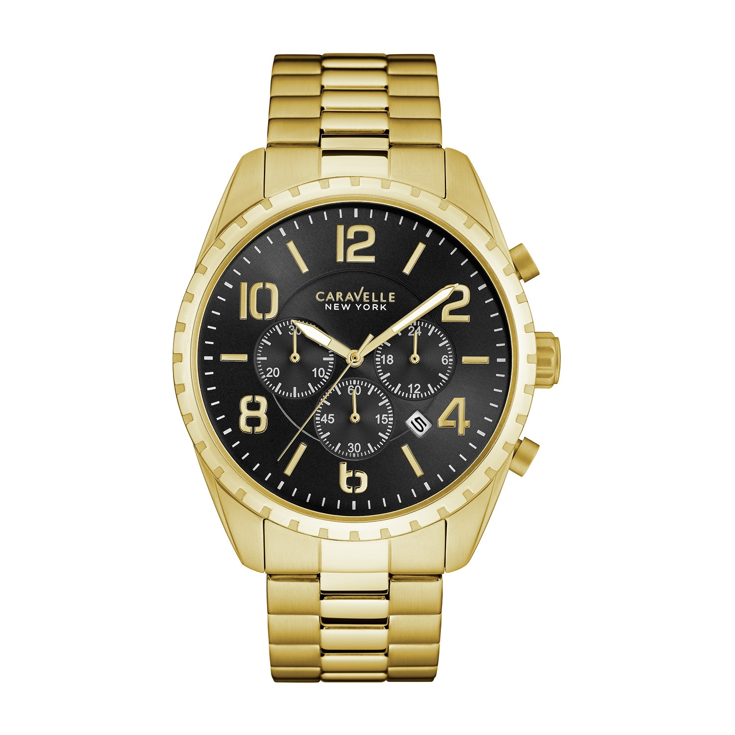 Caravelle NY Men's 44B114 Goldtone Stainless Chronograph ...