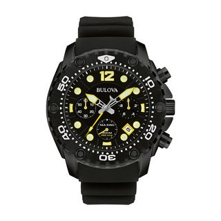 Bulova Men's 98B243 Sea King Black IP Stainless Chronograph Rubber Strap Watch