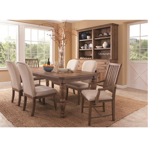 South Mountain Farmhouse Aged Oak or Soft White Finish Hardwood Solids and Oak Veneers Leg Table