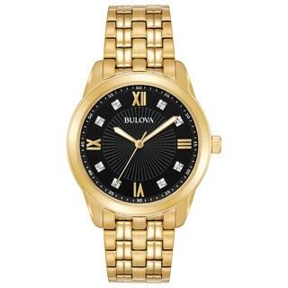 Bulova Men's 97D113 Diamond Dial Goldtone Stainless Bracelet Watch