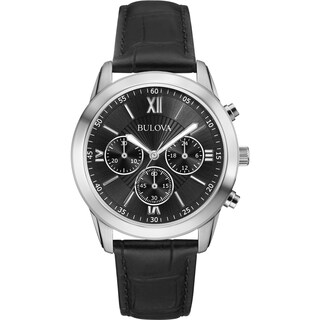 Bulova Men's 96A173 Stainless Black Dial Chronograph Leather Strap Watch