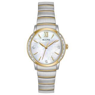 Bulova Women's 98R231 Two-tone Stainless Diamond Bezel Bracelet Watch|https://ak1.ostkcdn.com/images/products/18260695/P24397344.jpg?impolicy=medium