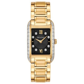 Bulova Women's 98R228 Goldtone Stainless Diamond Accent Black Dial Bracelet Watch