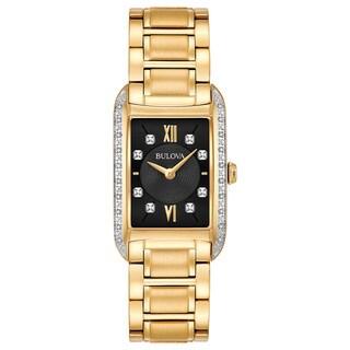 Bulova Women's 98R228 Goldtone Stainless Diamond Accent Black Dial Bracelet Watch|https://ak1.ostkcdn.com/images/products/18260725/P24397345.jpg?_ostk_perf_=percv&impolicy=medium