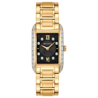 Bulova Women's 98R228 Goldtone Stainless Diamond Accent Black Dial Bracelet Watch|https://ak1.ostkcdn.com/images/products/18260725/P24397345.jpg?impolicy=medium