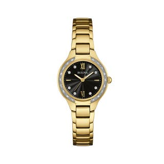 Bulova Women's 98R222 Goldtone Stainless Diamond Accent Black Dial Bracelet Watch|https://ak1.ostkcdn.com/images/products/18260753/P24397347.jpg?impolicy=medium