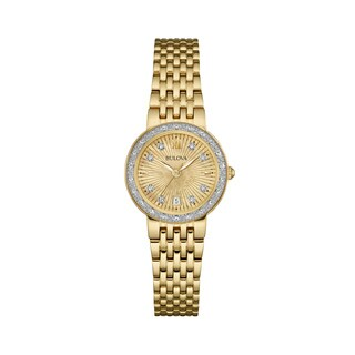 Bulova Women's 98R212 Diamond Accent Goldtone Stainless Sunray Dial Bracelet Watch