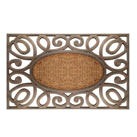 A1HC First Impression Hand-Crafted Large Elegant Circles 23 in. x 38 in. Rubber and Coir Door Mat