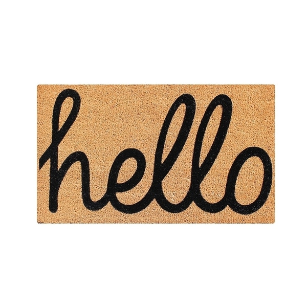 A1HC First Impression FADE RESISTANT 'HELLO' Entry Coir Flocked Doormat