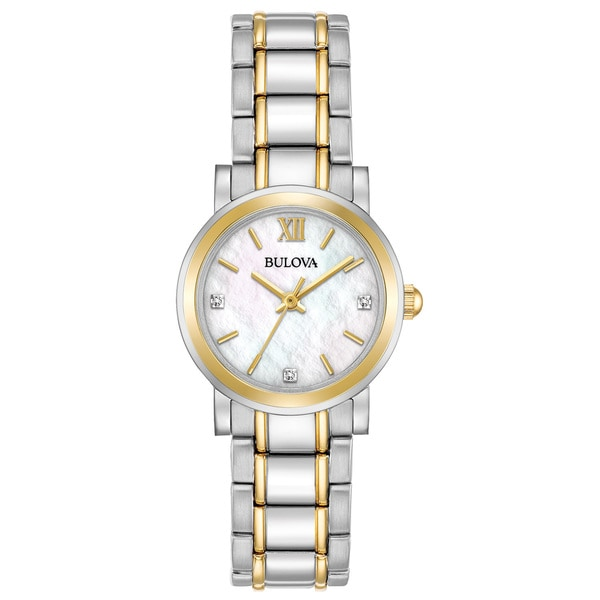 b4306679a Bulova Women's Two-Tone Stainless Diamond Accent MOP Dial Bracelet  Watch