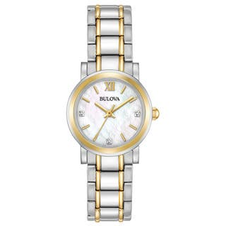 Bulova Women's 98P165 Two-Tone Stainless Diamond Accent MOP Dial Bracelet Watch|https://ak1.ostkcdn.com/images/products/18260857/P24397349.jpg?impolicy=medium