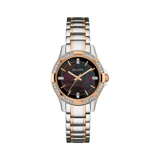 Link to Bulova Women's 98L219 Crystal Two-Tone Stainless Black MOP Bracelet Watch Similar Items in Women's Watches
