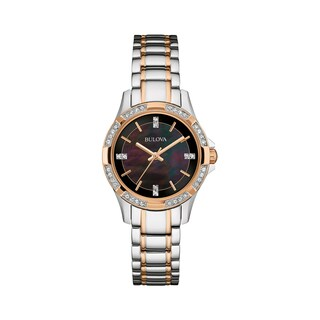 Bulova Women's 98L219 Crystal Two-Tone Stainless Black MOP Bracelet Watch