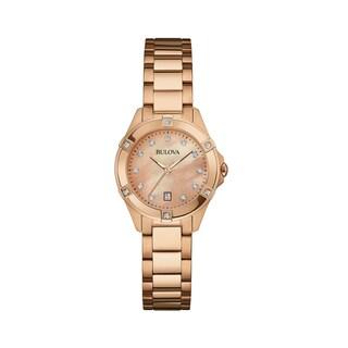 Bulova Women's 97W101 Rose Gold Stainless Diamond Accent Bracelet Watch|https://ak1.ostkcdn.com/images/products/18260899/P24397366.jpg?_ostk_perf_=percv&impolicy=medium