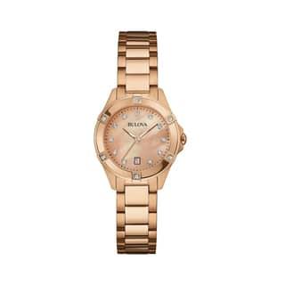 Bulova Women's 97W101 Rose Gold Stainless Diamond Accent Bracelet Watch|https://ak1.ostkcdn.com/images/products/18260899/P24397366.jpg?impolicy=medium