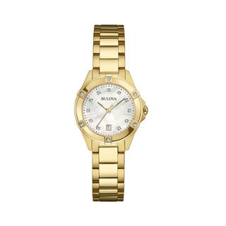 Bulova Women's 97W100 Goldtone Stainless Diamond Accent Bracelet Watch