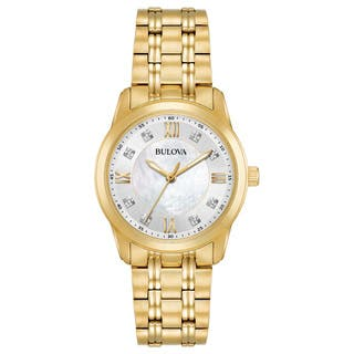 Bulova Women's 98P118 Goldtone Stainless Diamond Dial Bracelet Watch|https://ak1.ostkcdn.com/images/products/18260909/P24397371.jpg?impolicy=medium
