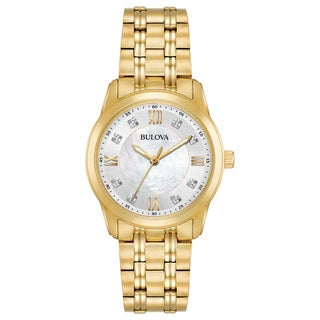 Bulova Women's 98P118 Goldtone Stainless Diamond Dial Bracelet Watch
