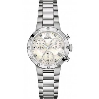 Bulova Women's Gallery Stainless Chronograph Diamond Accent Bracelet Watch