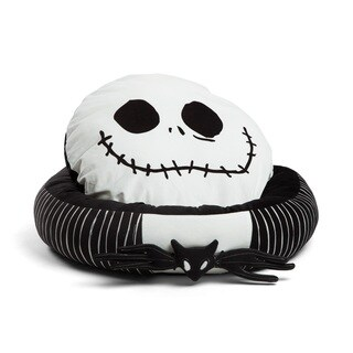 Disney Nightmare Before Christmas Jack Skellington Round Bumper Pet Bed with removable Bat Toy