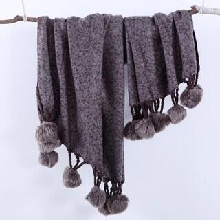 Berkshire Blanket Hollis Acrylic Throw with Faux Fur Pom Poms