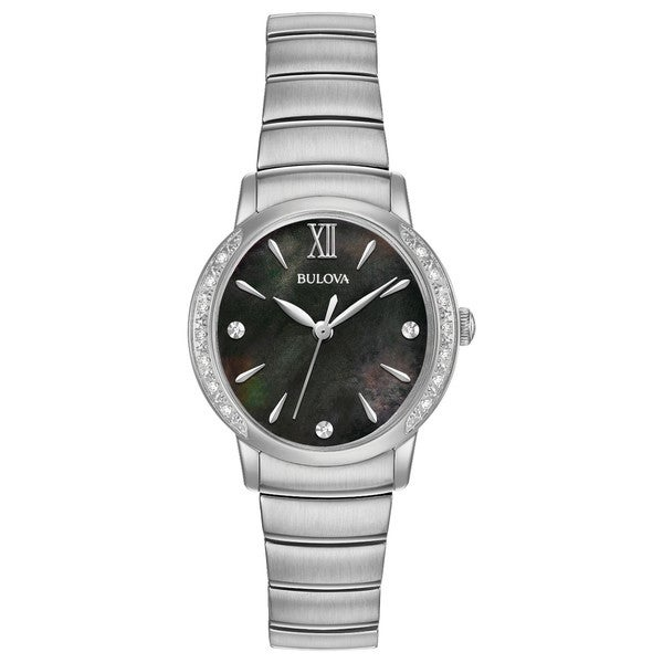 ea71756a7 Shop Bulova Women's 96R213 Stainless Diamond Accent Black Dial Bracelet  Watch - Silver - Free Shipping Today - Overstock - 18260943