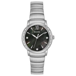 Bulova Women's 96R213 Stainless Diamond Accent Black Dial Bracelet Watch