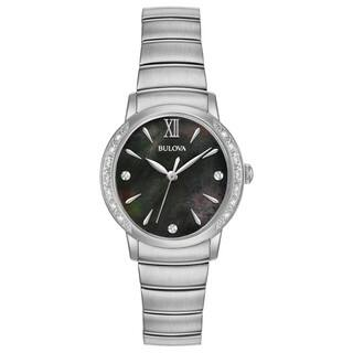 Bulova Women's 96R213 Stainless Diamond Accent Black Dial Bracelet Watch|https://ak1.ostkcdn.com/images/products/18260943/P24397368.jpg?impolicy=medium