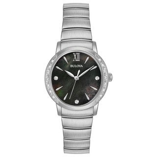 Bulova Women's 96R213 Stainless Diamond Accent Black Dial Bracelet Watch - Silver