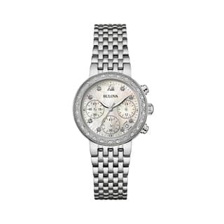 Bulova Women's 96R204 Diamond Stainless Chronograph Bracelet Watch|https://ak1.ostkcdn.com/images/products/18261003/P24397373.jpg?impolicy=medium
