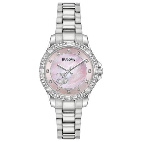 Bulova Women's 96L237 Stainless Crystal Heart Accent Bracelet Watch - Silver