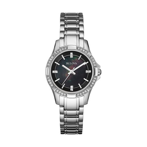 Bulova Women's Classic Stainless Crystal Accents Black MOP Dial Bracelet Watch
