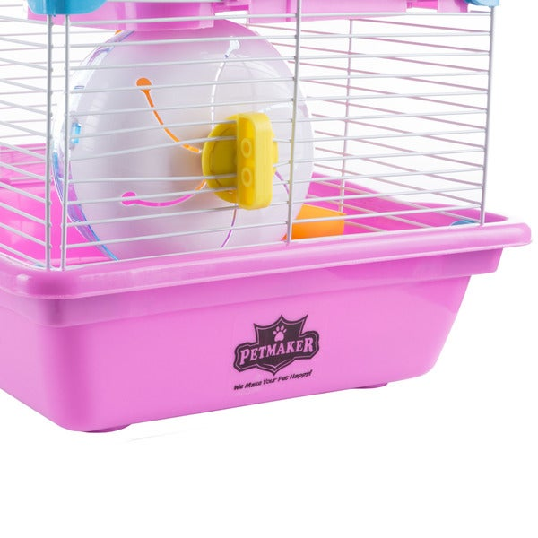 Wheel PETMAKER Hamster Cage Habitat Critter//Gerbil//Small Animal Starter Kit with Attachments//Accessories-Water Bottle Pink Tunnel Ladders