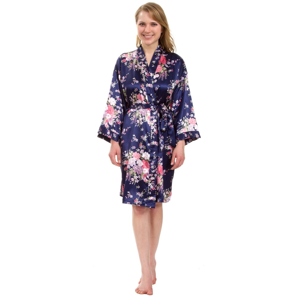 Leisureland Womens Knee-Length Floral Satin Robe