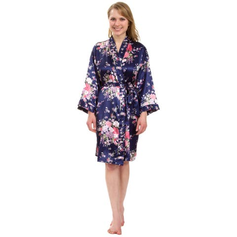 Leisureland Women's Knee-Length Floral Satin Robe