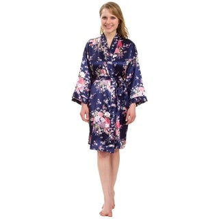 Leisureland Women's Knee-Length Floral Satin Robe