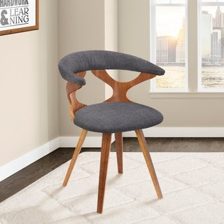 Danube Mid-century Charcoal/Walnut-finish Fabric/Wood Dining Chair
