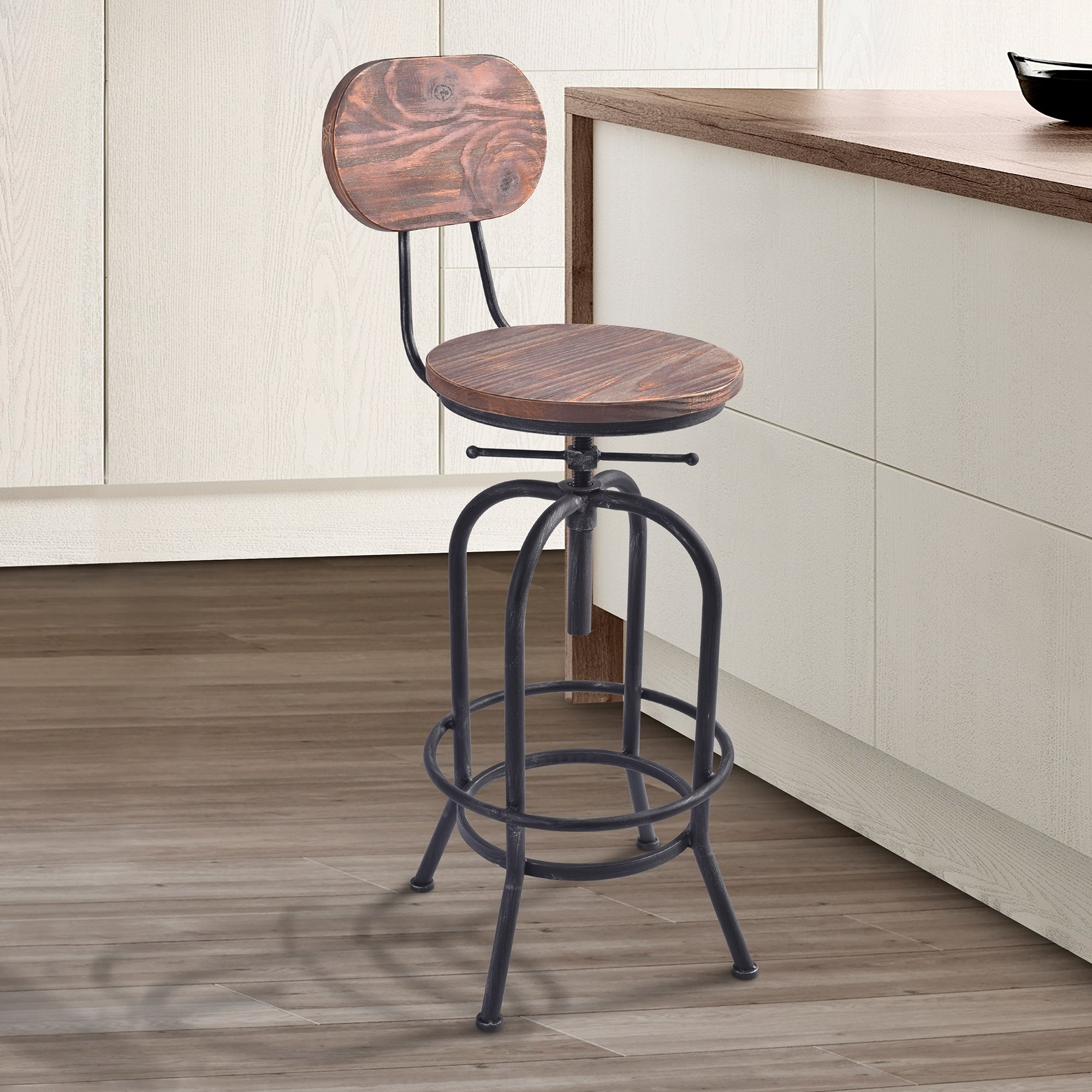 Shop Black Friday Deals On Adele Industrial Adjustable Barstool In Silver Brushed Gray With Rustic Pine Wood Seat And Back Bar Height Counter Height On Sale Overstock 18262753