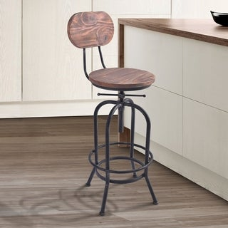 Adele Industrial Adjustable Barstool in Silver Brushed Gray with Rustic Pine Wood Seat and Back - bar height/counter height