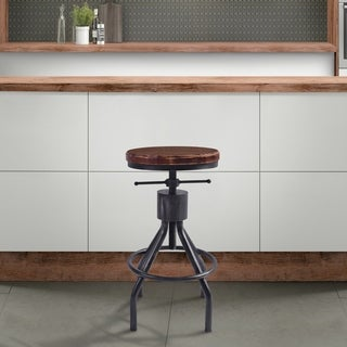 Paris Industrial Adjustable Backless Barstool in Silver Brushed Gray and Rustic Ash Wood Seat - bar height/counter height