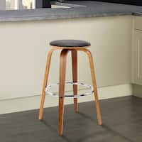 Brussel Mid-Century Backless Swivel Wood Barstool in Walnut with Black Faux Leather - bar height