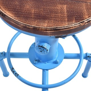 Starship Industrial Backless Adjustable Barstool in Antique Blue and Rustic Ash Wood Seat - bar height/counter height