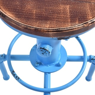 Link to Starship Industrial Backless Adjustable Barstool in Antique Blue and Rustic Ash Wood Seat - bar height/counter height Similar Items in Dining Room & Bar Furniture